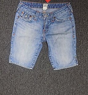 True Religion Flat Front Light Wash Jean W Pockets 184a Shorts Blue