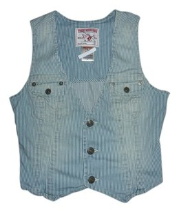 True Religion Striped Denim Vest
