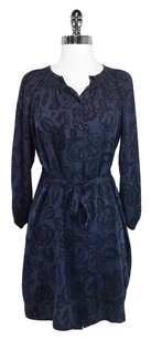 Tucker short dress Black/Navy Silk Floral on Tradesy