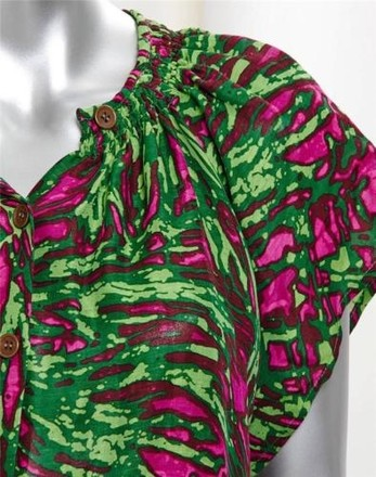 c5eeb6e75e0379 Tucker Greenpink Abstract Print Silklinen Short-sleeve Shirt Top Blouse Tee  outlet
