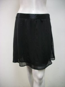 Tulle Satin Sheer Contrast Striped Style A5210 Skirt Black