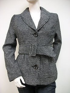 Tulle Wool Blend White Tweed Short Trench J7863 Belted Trench Coat