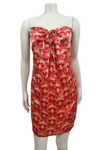 Twelfth St. by Cynthia Vincent short dress Beige Street Mercer Tie Front Red on Tradesy