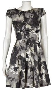 Twenty8Twelve Womens Printed Above Knee Cap Sleeve Sheath Dress