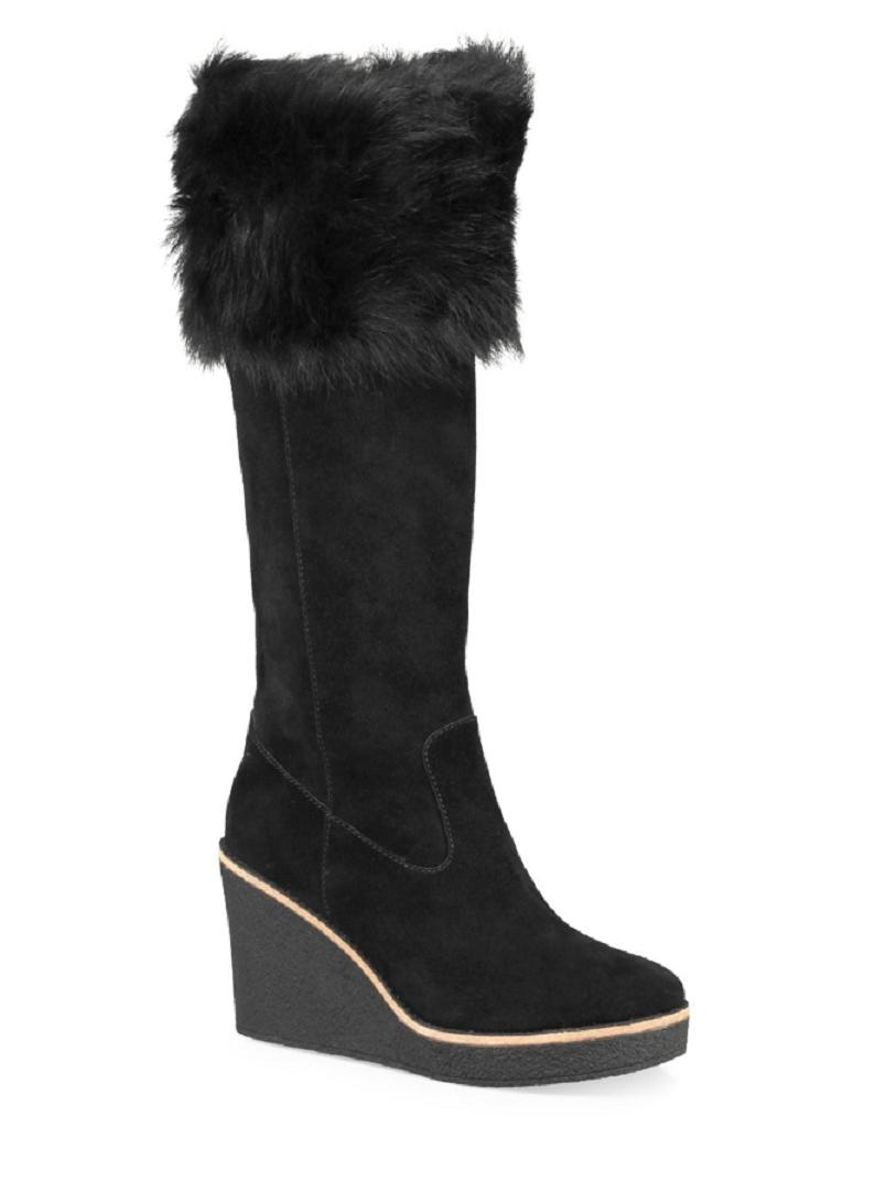 1bc22c1f0eaf ... best price ugg australia fur tall wedge black boots cdb65 bccf9 ...