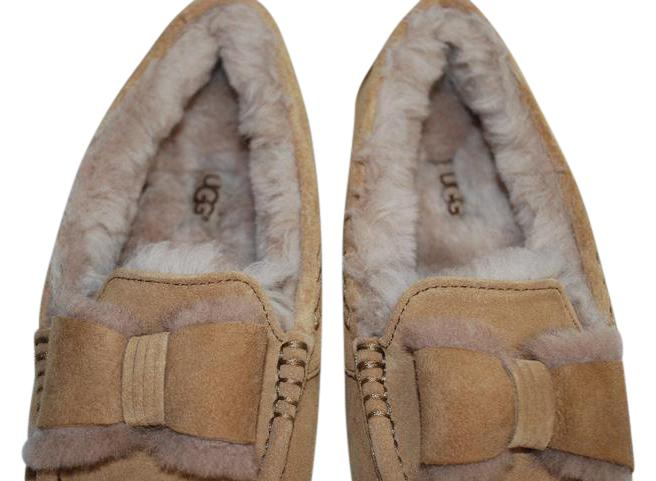 UGG Australia Suede Front Bow Women Slippers Suede/Wool Mocassin Style Rubber Sole Chestnut Flats ...