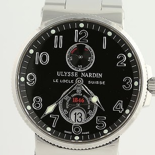 Ulysse Nardin Ulysse Nardin Mens Watch Marine Chronometer Black Face Stainless 41mm 263-66
