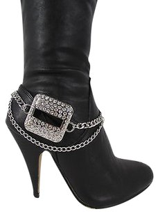 Women Biker Fashion Boot Chain Bracelet Strap Silver Metal Shoe Square Charm