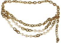 Spotlight On You Gorgeous Gold Link Pearl Multi Strand Chain Belt