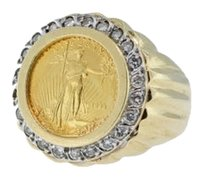 Other 14k,Gold,Ring,With,5,Dollar,1998,Gold,Eagle,Coin,.88ctw,Diamonds,Size,9.75