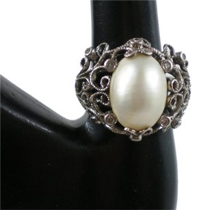 Ornate Sz 6.5 Cut Freshwater Pearl Sterling Silver Ring