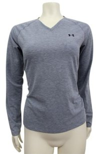 Under Armour Under Armour Heat Gear Womens Athletic Lt Blue V Neck Top Long Sleeves