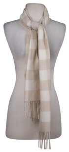 Uniqlo Uniqlo Womens Beige Creme Checkered Scarf One Cashmere