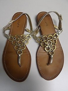 Unisa Textured W Front Ring Detail Man Made B3483 Tan And Gold Sandals