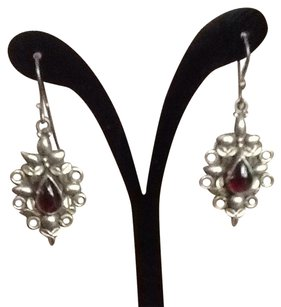 Sterling And Garnet Drop Earrings
