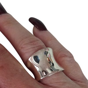 Sterling Silver Concave Wide Cigar Band Ring