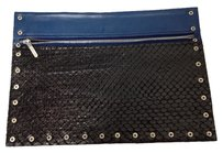 Unknown Anaconda Lambskin Black and Blue Clutch