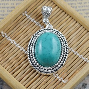 Antiqued Turquoise Pendant With Free Chain & Shipping