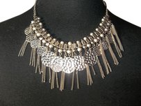 Silver Choker with Medallions, Chains, Embossed Beads
