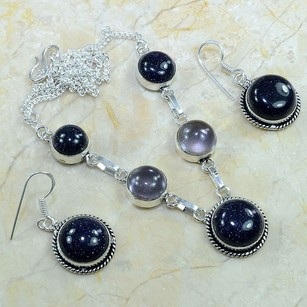 Silver Sun Sitara Amethyst Y Necklace Set Free Shipping