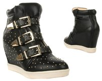 unknown Sneakers Sneakers Buckles Sneakers Sneakers Studded Vegan Leather Leather black Wedges