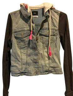 Urban Outfitters Denim Grey Pink Womens Jean Jacket