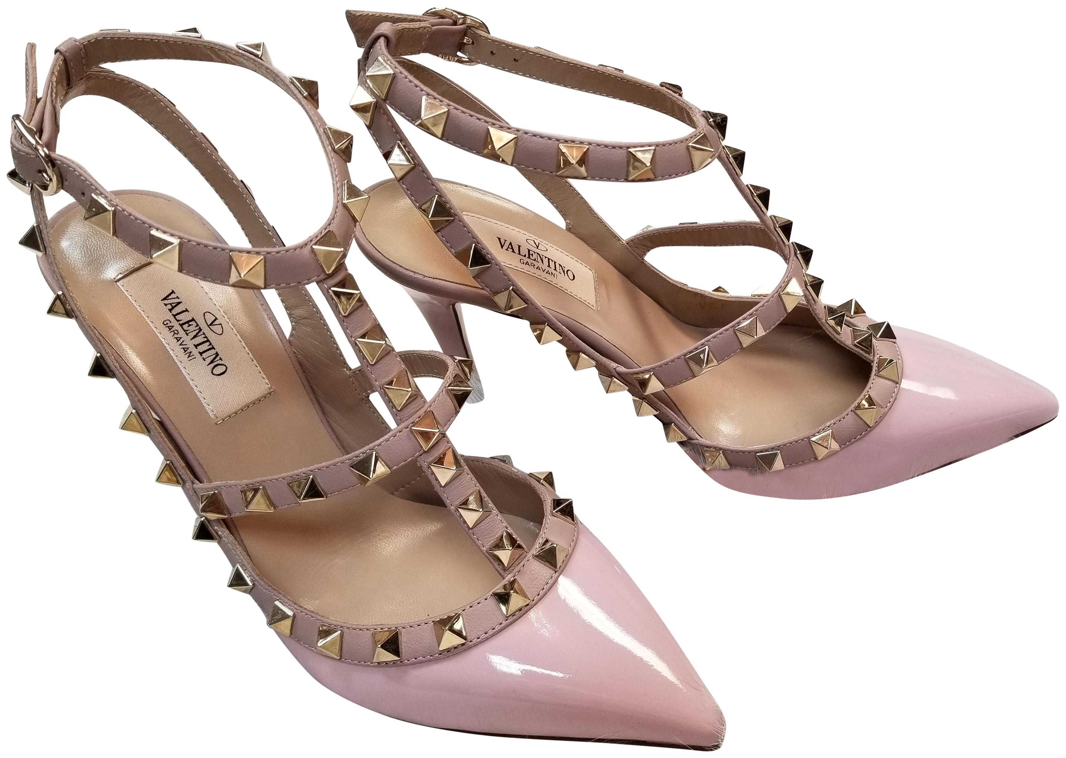 Valentino Baby Pink Rockstud Patent Leather Ankle Strap 36