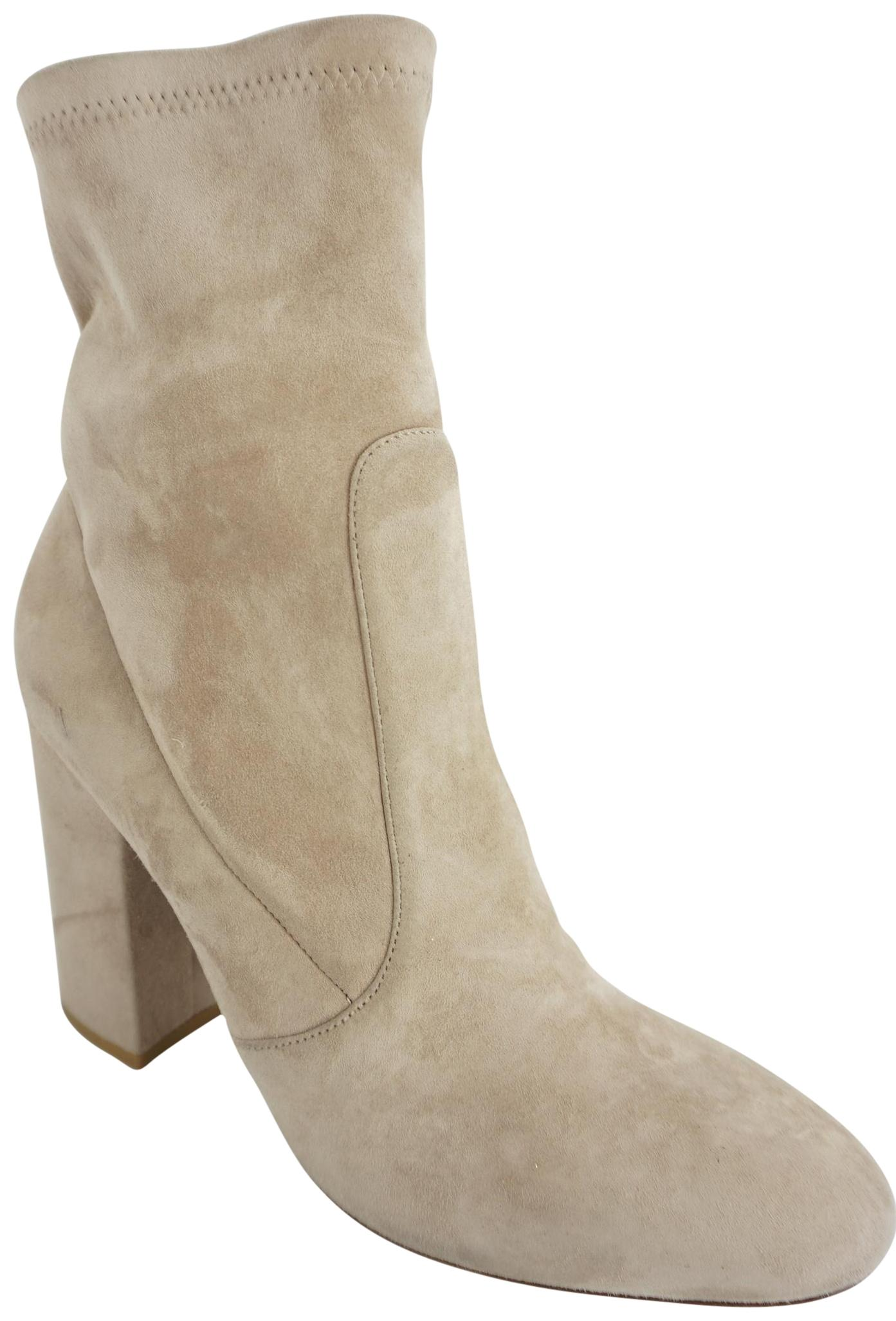 Valentino Beige Poudre Suede Stretch Block Heel Ankle Boots/Booties Size EU 38 (Approx. US 8) Regular (M, B)