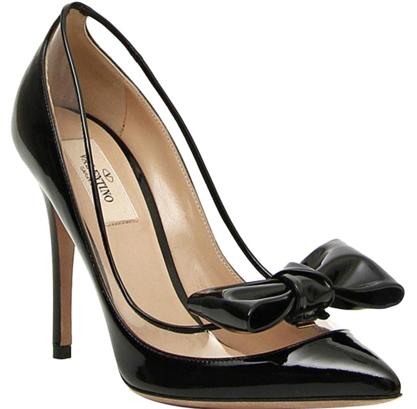 209f1ac6e81 Valentino Valentino Valentino Black Dolly Bow Patent Leather Removable Bows Pumps  Size EU 39 (Approx