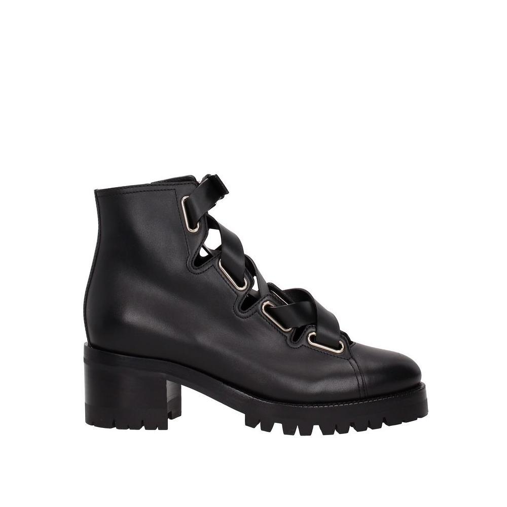 Valentino Black Garavani Leather Ankle Boots/Booties Size EU 39.5 (Approx. US 9.5) Regular (M, B)