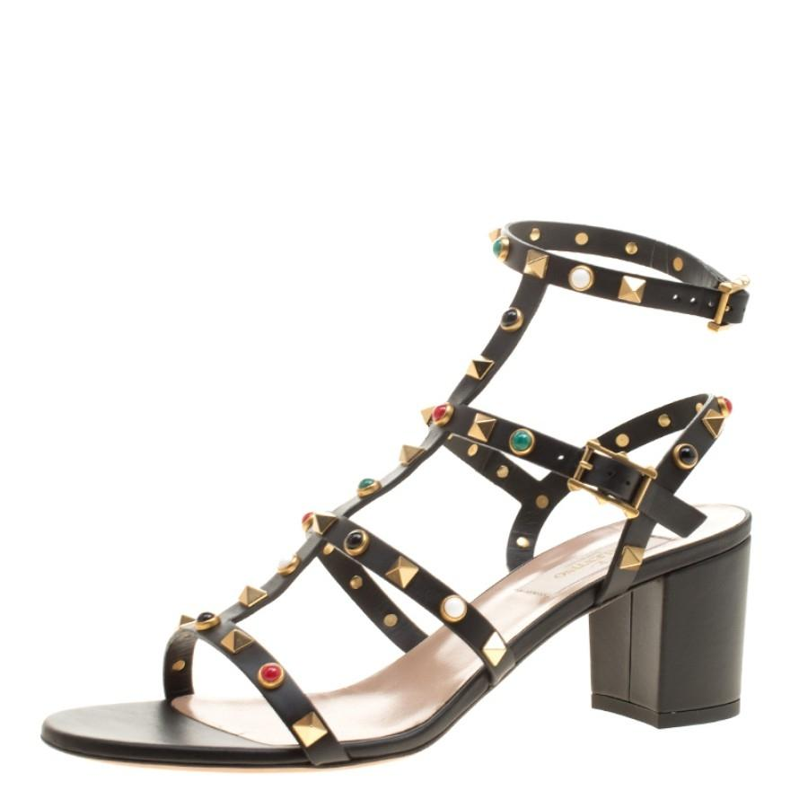 5b08a4864bb Valentino Black Leather Rolling Rockstud Cabochon Gladiator Si Sandals  Sandals Sandals Size EU 39 (Approx. US 9) Regular (M