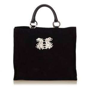 Valentino Black Leather Suede Tote