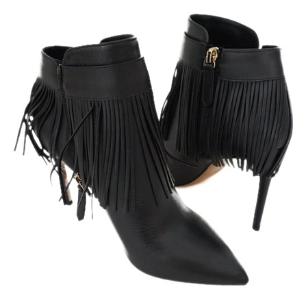 Valentino Black Rockee Fringe Leather Ankle Boots/Booties Size US 8