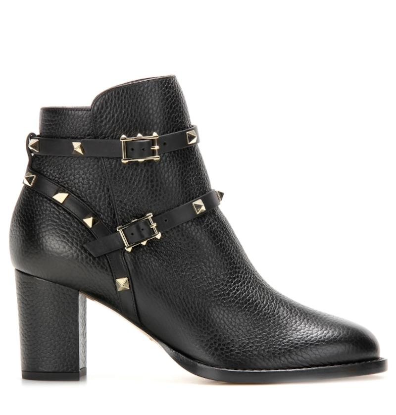 Valentino Black Rockstud City Leather Buckle Ankle Heel Boots/Booties Size EU 39.5 (Approx. US 9.5) Regular (M, B)