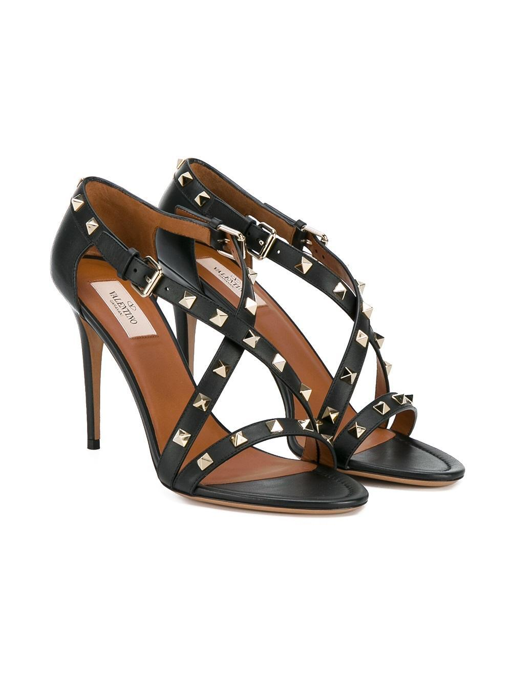 Valentino Black Rockstud Cross Sandal Pumps Size EU 37 (Approx. US 7) Regular (M, B)