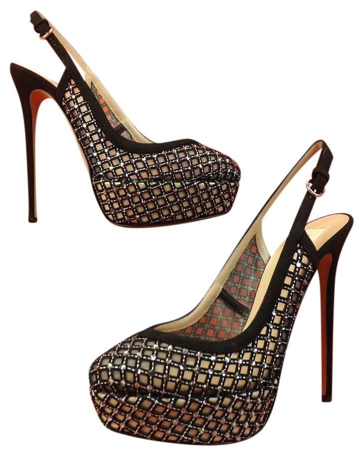 Valentino Black/Nude Lattice Crystals Studded Platform 9.5 Pumps Size EU 39.5 (Approx. US 9.5) Regular (M, B)