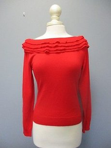 Valentino Boat Neck Ruffles Long Sleeves Solid Casual Sma8649 Sweater