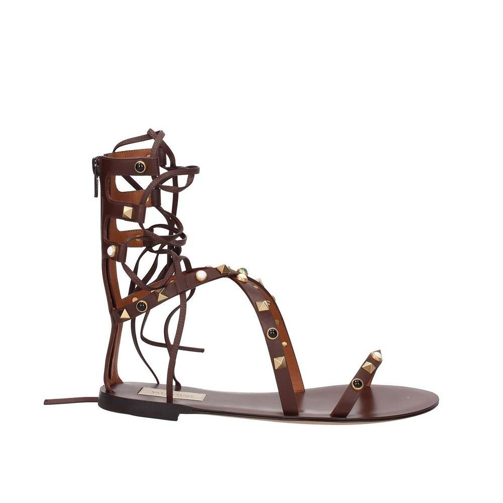 5b668534a3b4 Valentino Brown Garavani Leather Sandals Size Size Size EU 37 (Approx. US  7) Regular (M