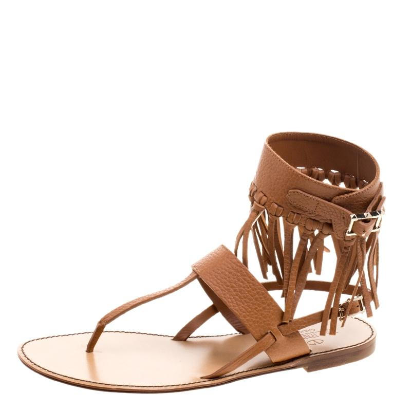 Valentino Brown Leather Fringe Detail Ankle Wrap Sandals 37. Flats Size EU 37.5 (Approx. US 7.5) Regular (M, B)