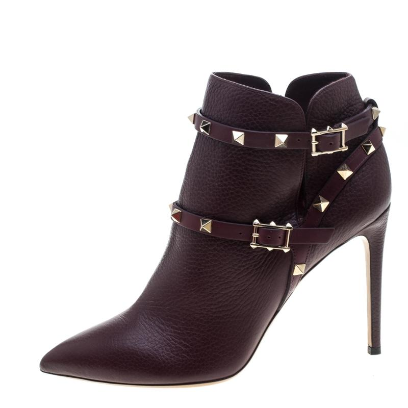 Valentino Burgundy Leather Rockstud Pointed Toe Ankle Boots/Booties Size EU 40 (Approx. US 10) Regular (M, B)