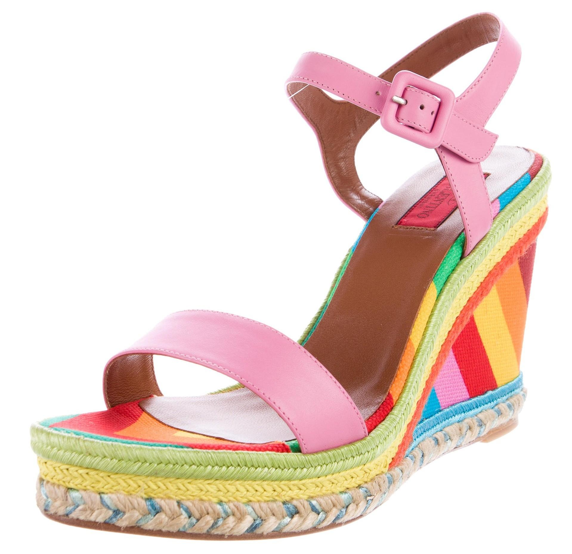 Valentino Green Orange Yellow Pink Leather 1973 Platform Wedges Size US 11 Regular (M, B)