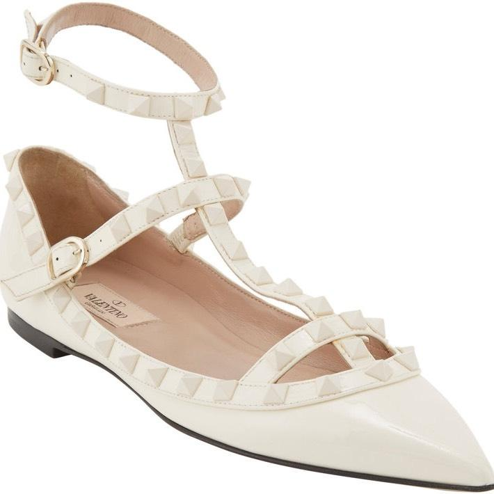 Valentino Ivory / Off White Rockstud Leather Punkouture Cage T-strap Ballet Ballerina Flats Size EU 37.5 (Approx. US 7.5) Regular (M, B)
