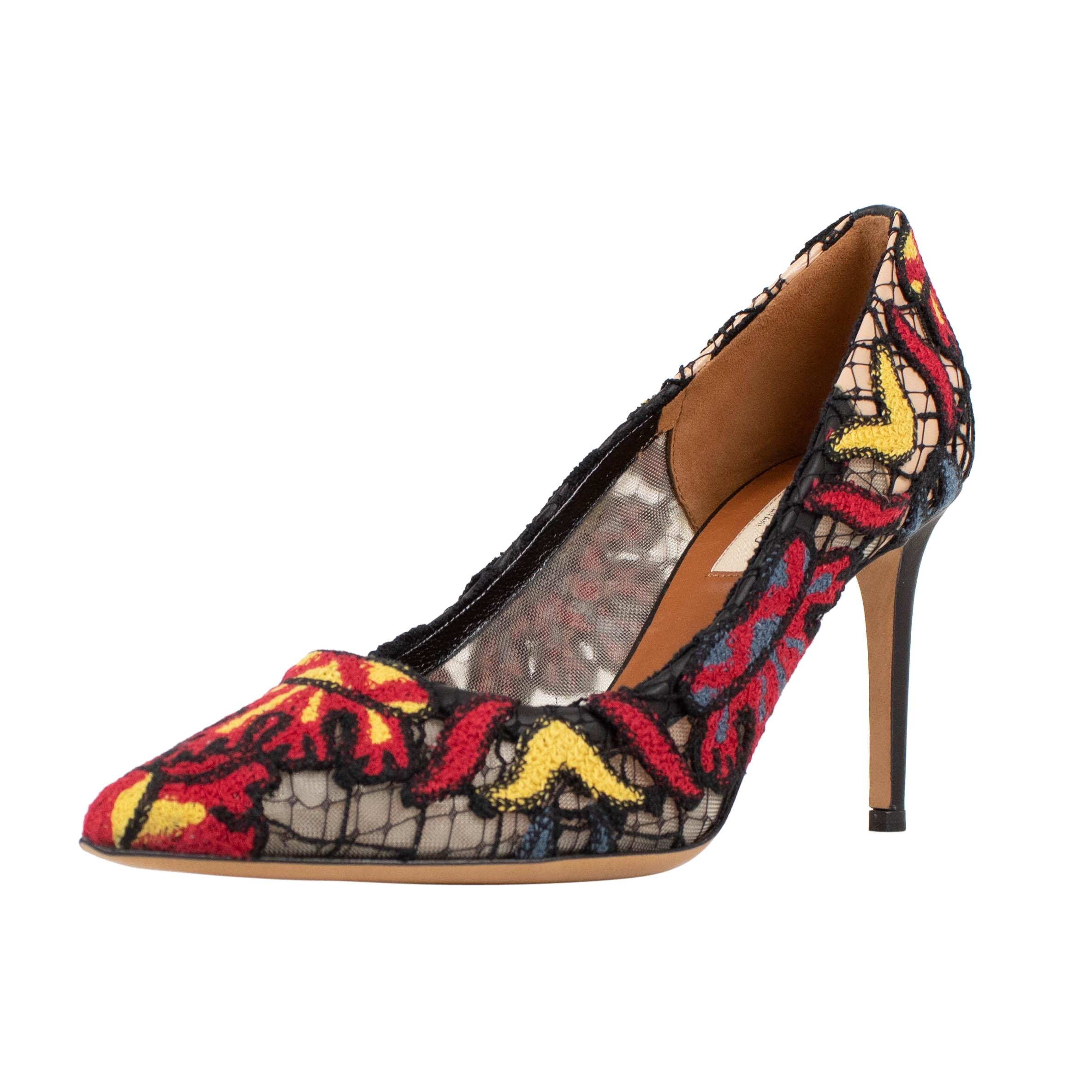 Valentino Multi-color Embroidered Mesh Pointed Pumps Size US 9 Regular (M, B)