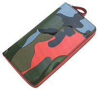 Valentino NEW VALENTINO CAMOUFLAGE LEATHER ZIP CONTINENTAL WALLET