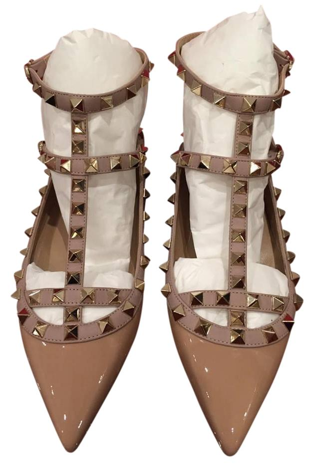 Valentino Nude Rockstud Patent Leather T Strap Cage Ballet 38 Flats Size US 8 Regular (M, B)