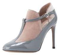 Valentino Patent Leather Velvet T-bar Gray,Pink Boots