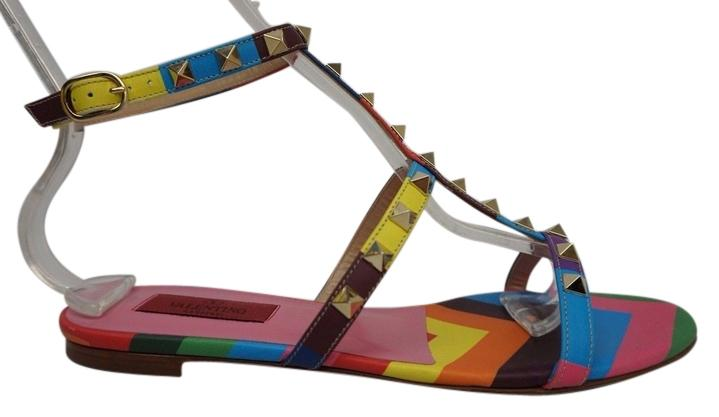 Valentino Rainbow Rockstud 1973 Leather Ankle Strap Flat Sandals Size US 8 Regular (M, B)