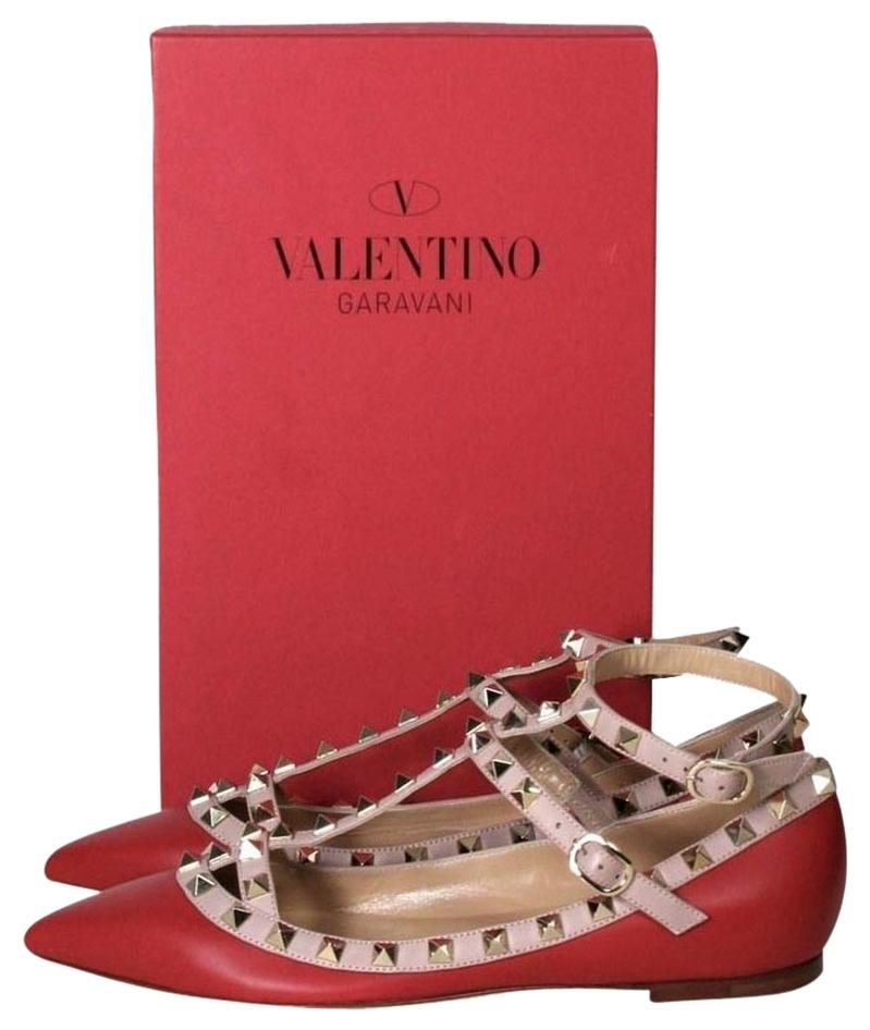 Valentino Red Rockstud Caged Flats Size US 5.5