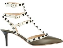 Valentino Rockstud 8 38 Green and WHite Pumps
