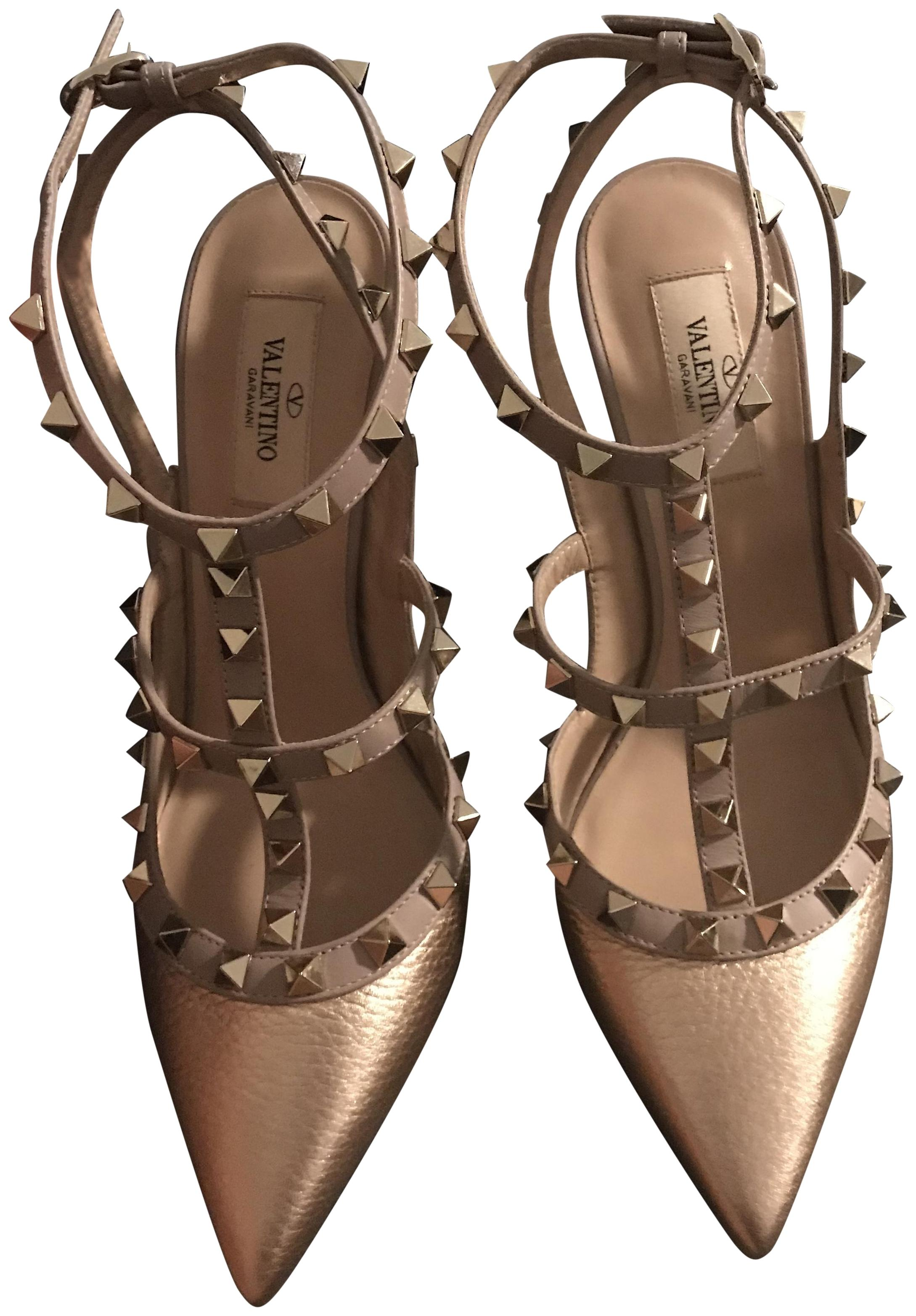 Valentino Rockstud T-strap Grained Metallic Gold Pumps Size EU 39 (Approx. US 9) Regular (M, B)
